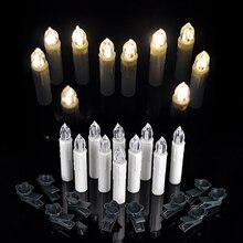 Ensemble de 10 pièces pour sapin de noël   Bougies décoratives, lampes de thé, télécommande sans fil, blanc chaud, pour anniversaire ou mariage