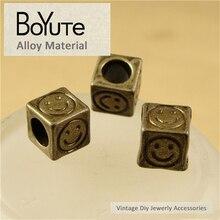 BoYuTe (50 Pieces/Lot) 8*8*8M Antique Bronze Plated Zinc Alloy Vintage Big Hole Square Smile Beads f
