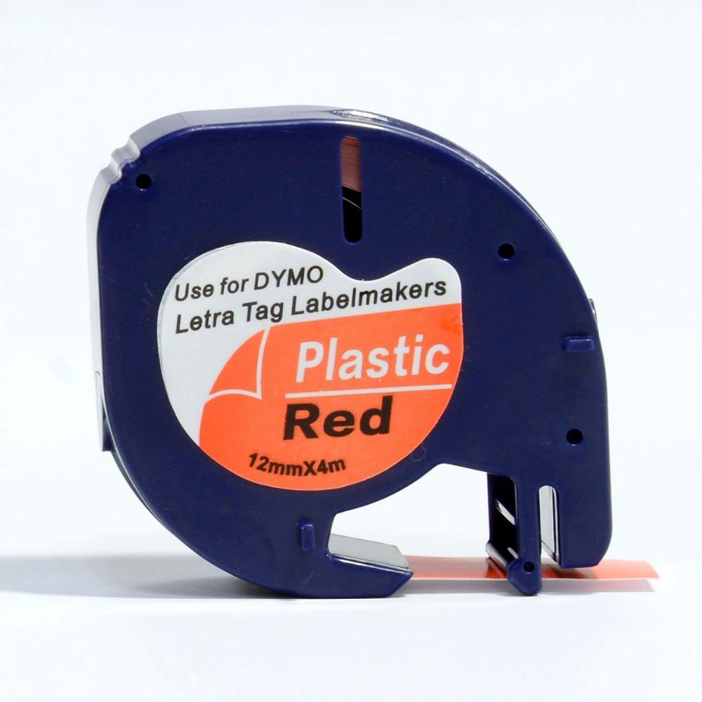 3PCS 91203 Dymo Letratag Printer Tape Compatible For Dymo Plastic Black on Red Printer Ribbon