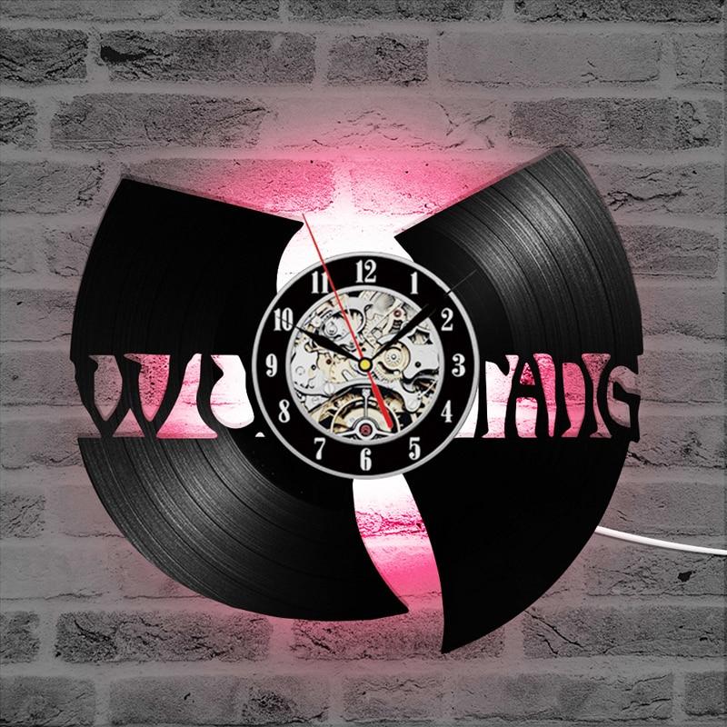 Виниловая пластинка настенные часы современный дизайн WU TANG CLAN хип-хоп группы Горячие записи CD светодиодный часы 7 цветов изменения настенны...