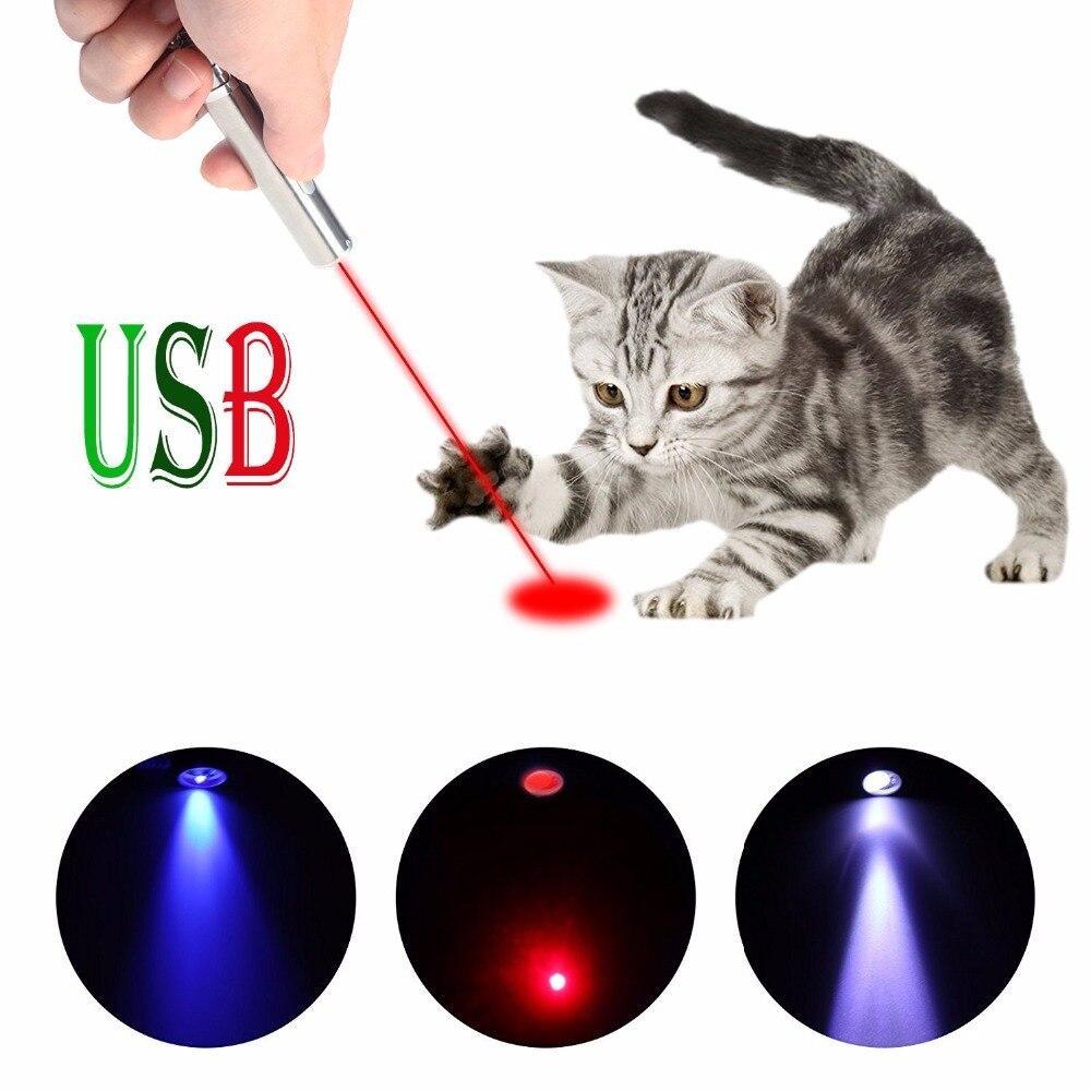 Juguetes para gatos Mini USB recargable 3 en 1 puntero láser LED carga bolígrafo linterna ultravioleta lámpara LED gato láser rojo