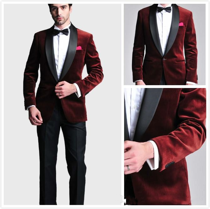 Burgundy Velvet ajustado novio esmoquin trajes de boda personalizado padrino trajes de fiesta para hombre pantalones negros (chaqueta + Pantalones + pajarita