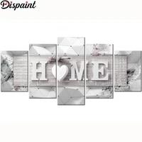 Dispaint-peinture diamant 5 pieces  broderie complete 5D  perles carrees ou rondes   home sweet home   a bricolage-meme  combinaison multi-images  cadeau 5D
