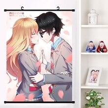Nette Anime Ihre Liegen in April Arima Kousei Miyazono Kaori Cosplay Wall Scroll Poster Wand Hängen Poster Wohnkultur