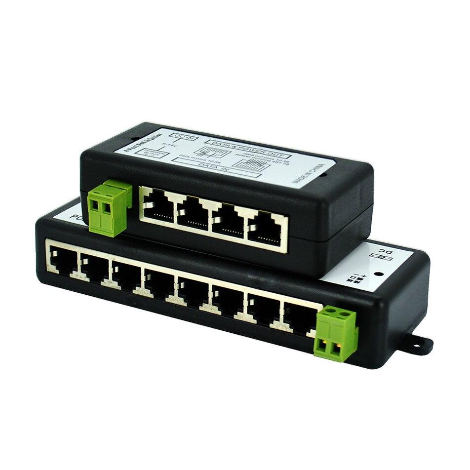 Escam 4ch 8ch poe injector para vigilância poe ip câmera wi fi ap voip power over ethernet ieee802.3af/at adaptador de energia