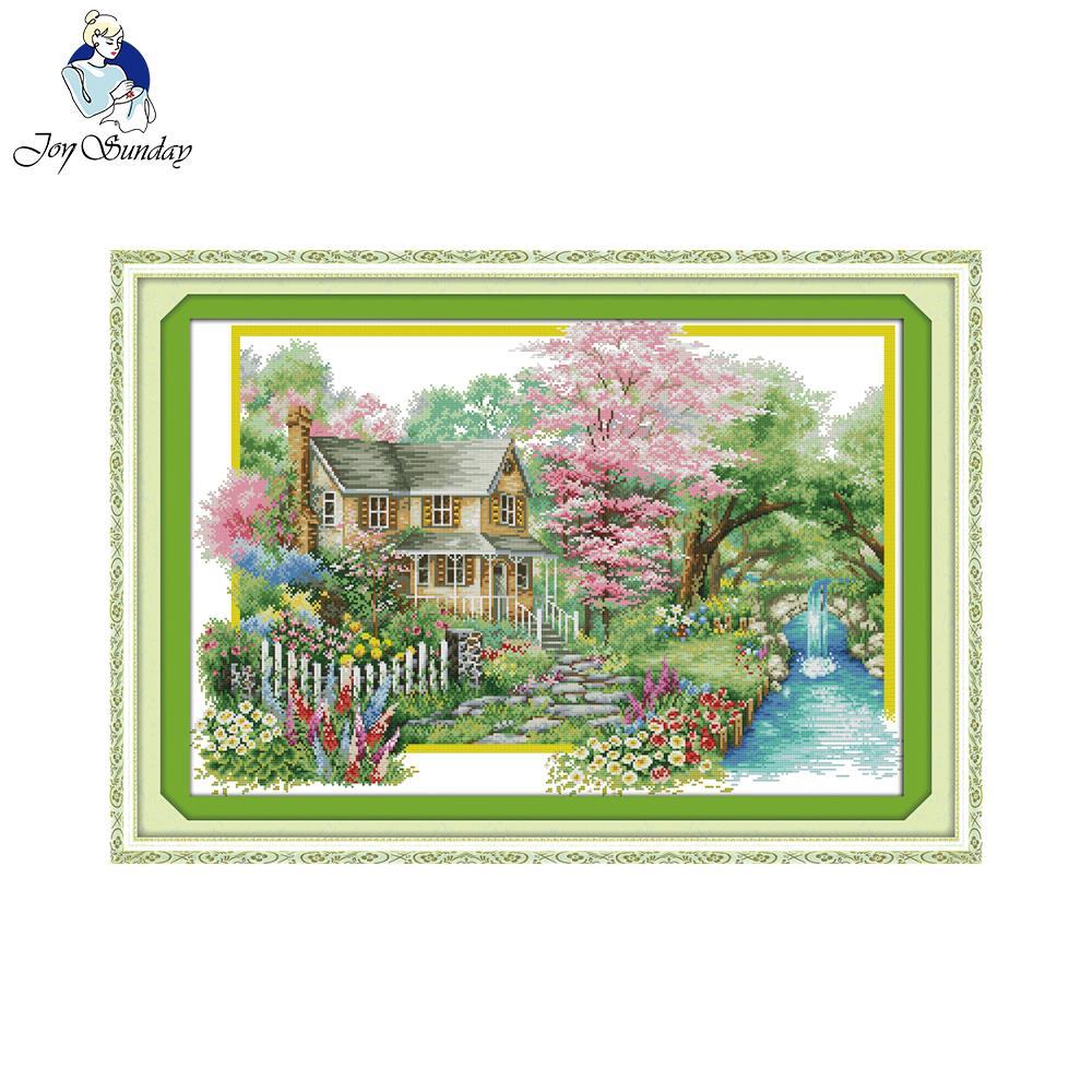 Alegria domingo flores villa carimbado contado ponto cruz diy kit de costura para bordado decoração para casa bordado bordado bordado