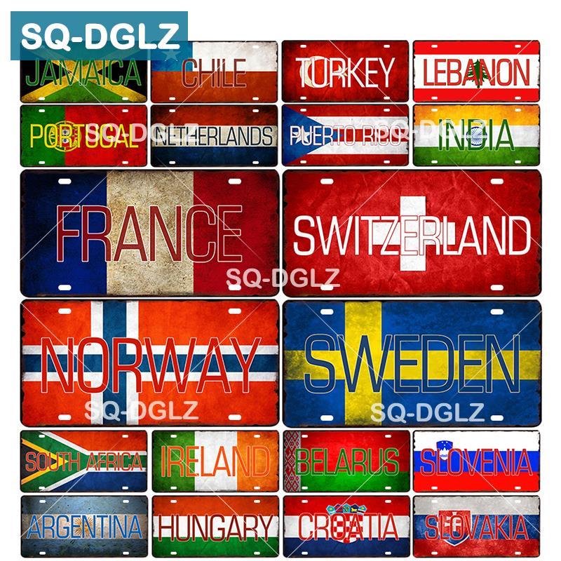 [SQ-DGLZ] Bandera Nacional personalizada, matrícula para Bar, decoración de pared, letrero de Metal de país, cartel de placas de pintura para decoración del hogar