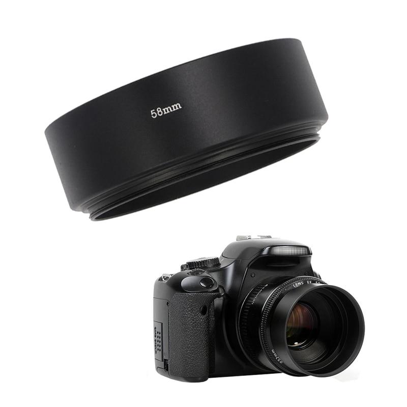 De metal Padrão Lens Hood 49mm 52mm 58mm 55mm 62mm 67mm 72mm 77mm screw-in Montagem Lens Protector para Canon Nikon Sony Camera