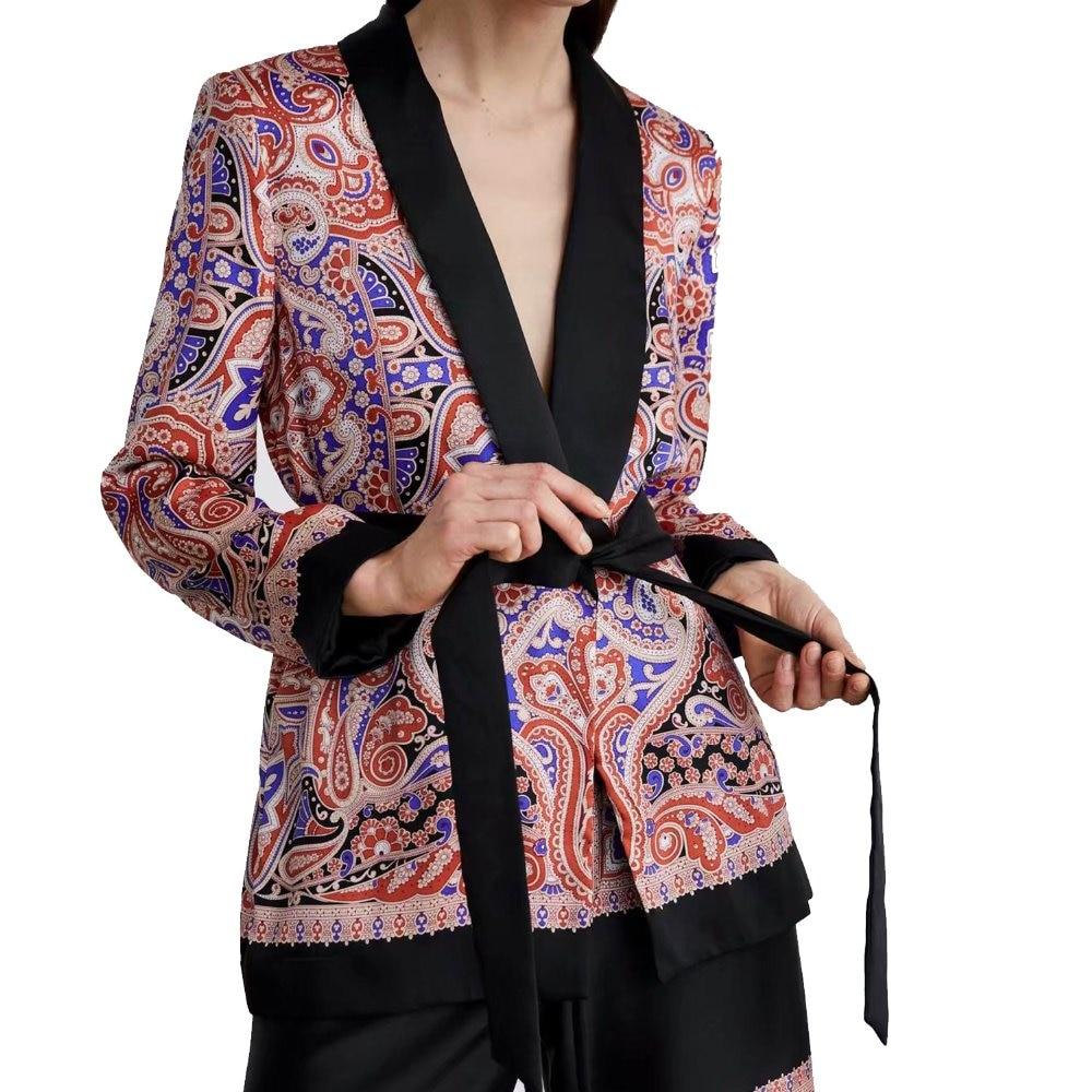 2019 za women vintage suit style boho froal print blouse shirts foral JACKET  Blazers full sleeve shirts Womens Camisa