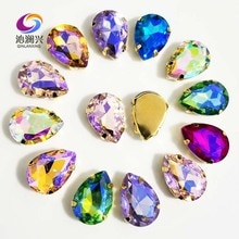 Super belleza parte inferior dorada M color forma de DR cristal para coser diamantes de imitación en base de garra, Diy/accesorios de ropa