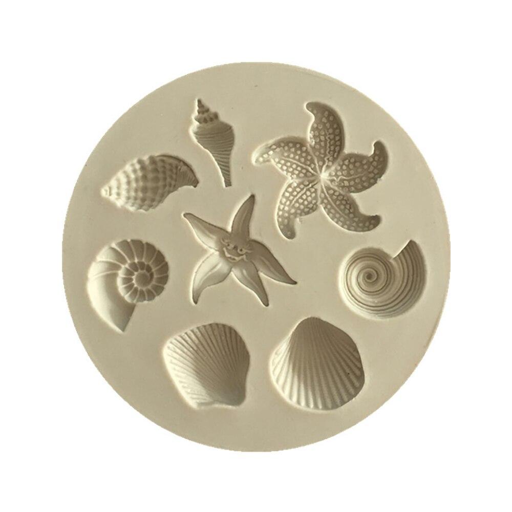 Molde de silicona para pastel de Chocolate, concha de mar biológico del océano, molde de Chocolate DIY para cocina, utensilios para pastel líquido