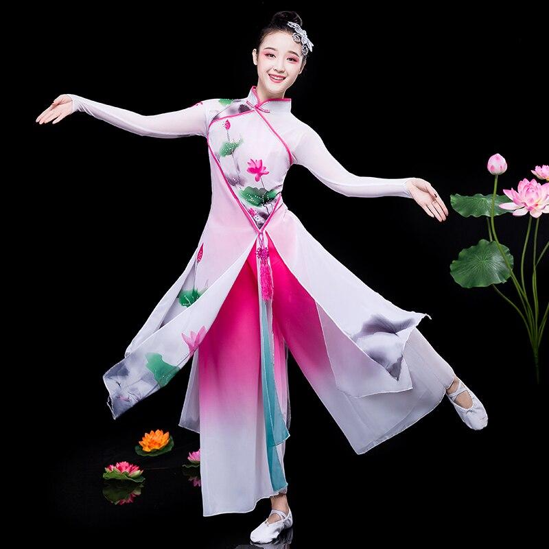 Классический танцевальный костюм Hanfu, Элегантный Национальный костюм фаната, танцевальный китайский костюм Янко, традиционный костюм наро... мебель в наро фоминске
