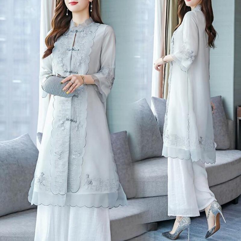 الشيفون بدل رجالي لأم العروس المرأة حفل زفاف ضيف رسمي خمر النمط الصيني أنيقة 2 قطعة مجموعات Pantsuit