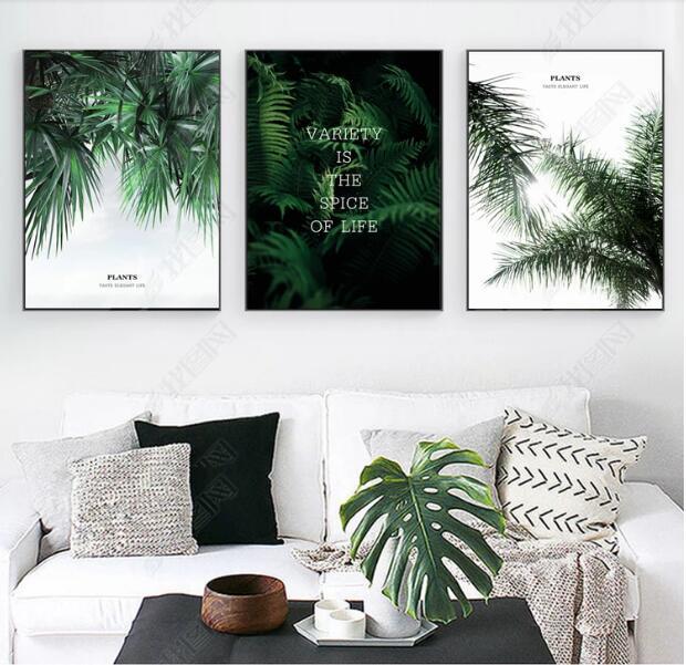 Nordic minimalista fresco arte verde planta decorativa pintura sem moldura palavras folhas pintura