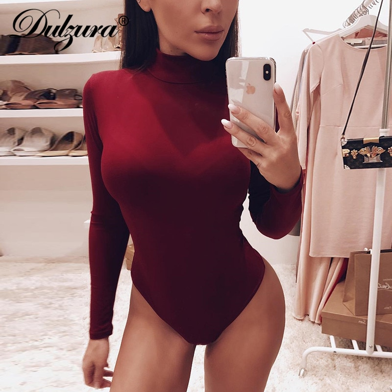 Dulzura cotton long sleeve women sexy bodysuit 2020 autumn winter female Mock Neck warm clothes slim fit fashion solid body suit