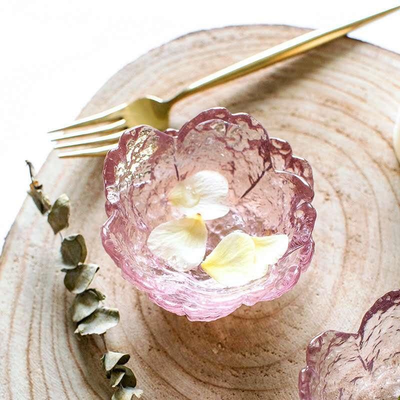 6Pcs Sakura Dish Japanese-style Glass Small Dish Small Salad Plate Dried Fruit Plate Dessert Plate Dumplings Dish Wedding Gift