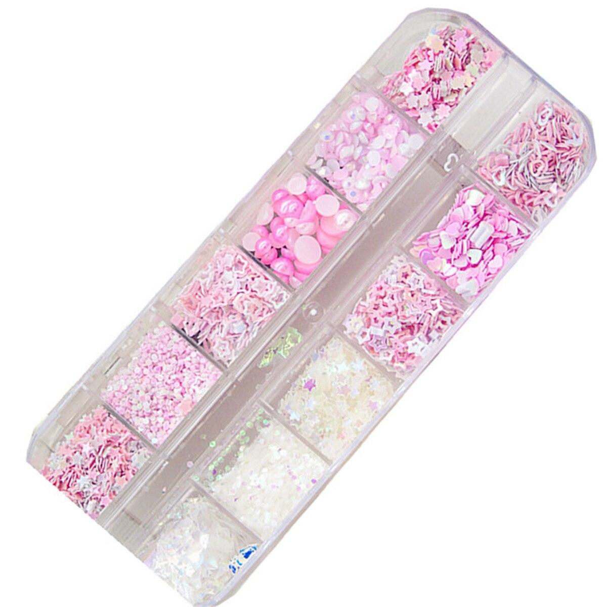 12 brokat festiwal świecący różowe białe cekiny diamentowe paznokcie układanie włosów miłość gwiazda Nail Art perła Paillette płatki akcesoria