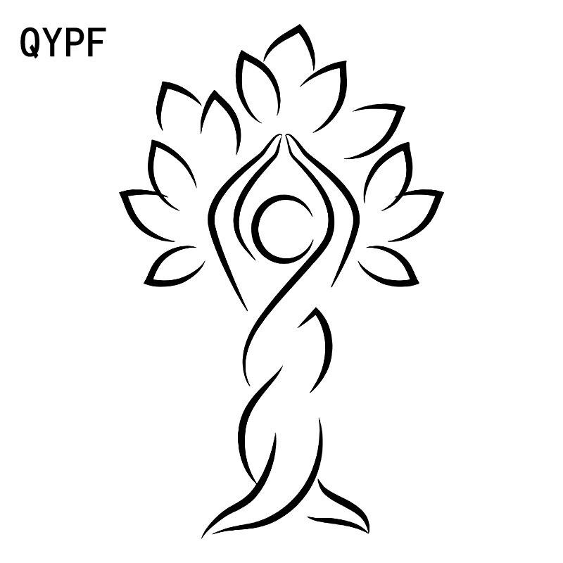 QYPF 11.9 cm * 18.6 cm Cartoon Abstracte Boom Van De Kleine Man Delicate Vinyl Newfashioned Autoruit Sticker Decal c18-0404