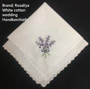 Set of 12 Ladies Handkerchief 12-inch White Cotton Wedding Hankies scallop Edged Color embroidery Vintage Hanky For Ladies/Bride