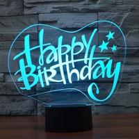 Birthday Fast Usb Nightlight Creative Birthday Gift Seven color Bedroom Table 3d Light Fixtures Usb Led Lamp