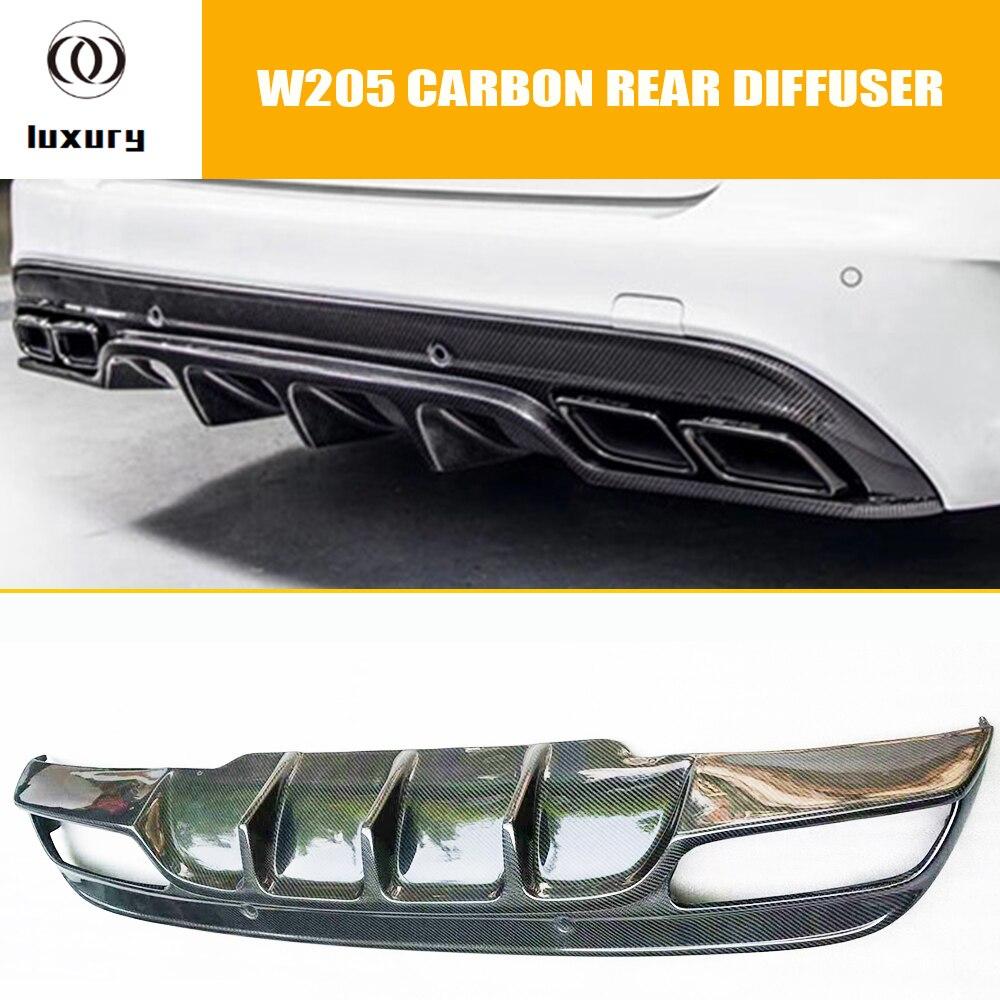 W205 fibra de carbono para difusor de parachoques trasero para Benz W205 Clase C sedán C180 C200 C300 C43 con paquete AMG 2015-2020