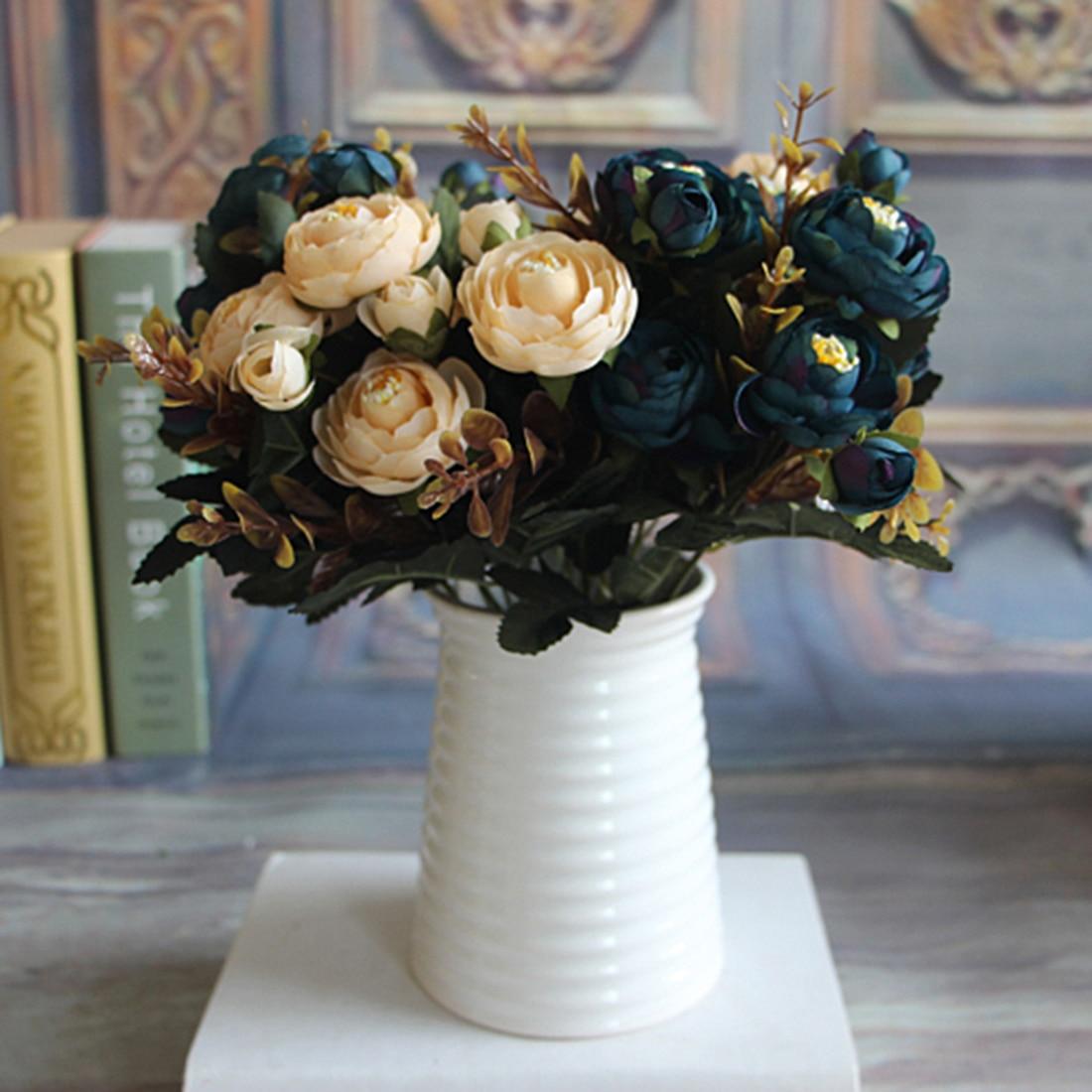 Encantadora vivo 6 sucursales otoño Peonías artificiales de imitación flor casa habitación decoración de hortensias de boda Real Touch