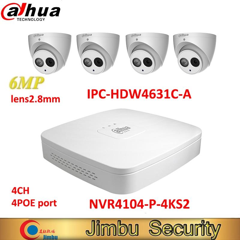 Dahua IP NVR kit 4CH 4K видеорегистратор NVR4104-P-4KS2 & Dahua 6MP IP камера 4 шт. IPC-HDW4631C-A H.265 cctv система Поддержка POE