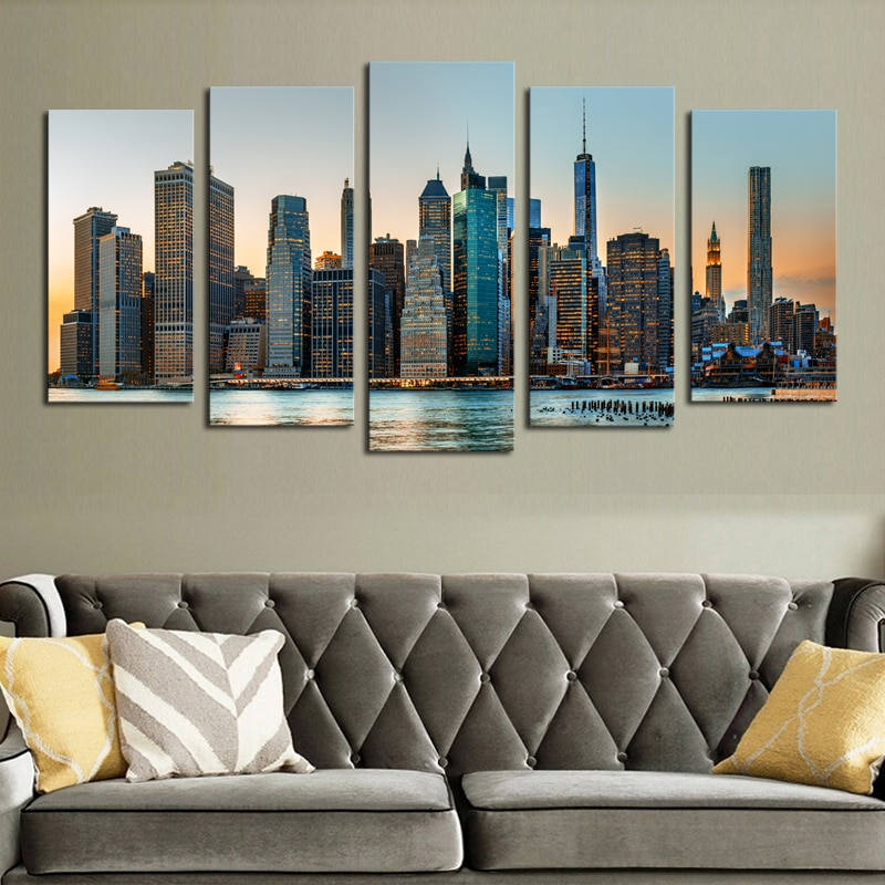 2017 Real Sale Luxry Unframed 5 Panel City Landscape Hd Picture Canvas Print Painting Artwork Wall Art Wholesale For Home Decor