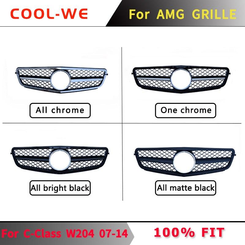 עבור מרצדס בנץ W204 C CLASS GTR גריל פגוש קדמי גריל עבור AMG C63 C180 C200 C300 C230 C280 C350 2007-2014