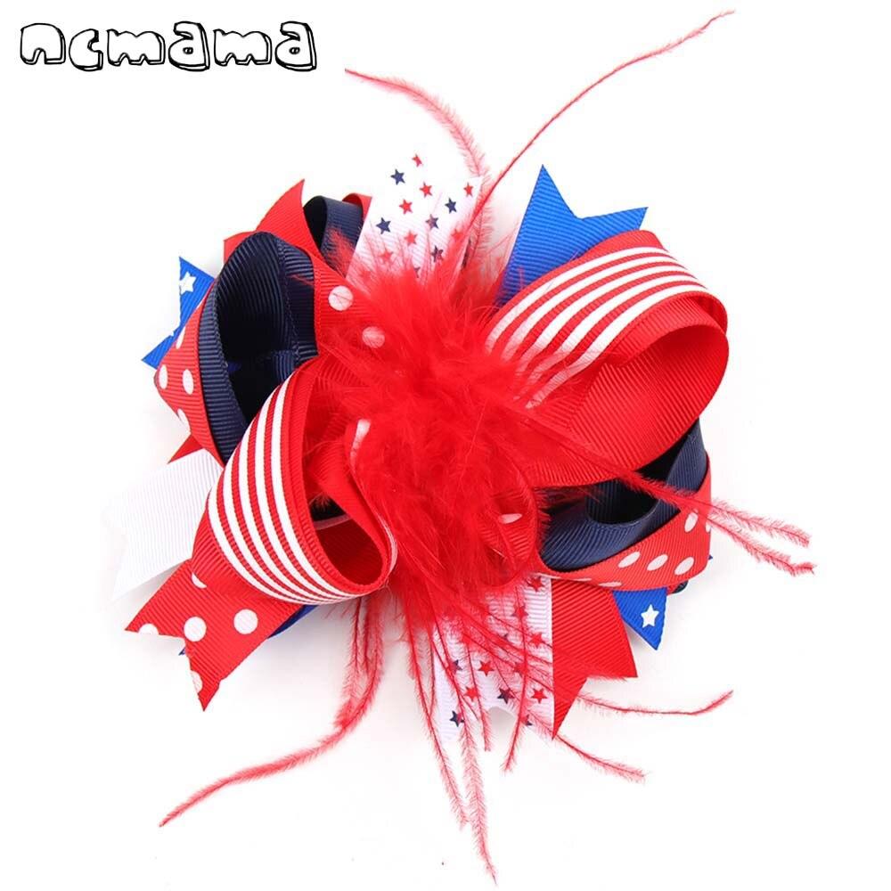 Ncmama 2019 pelo de plumas para niñas lazos con clips estrella del 4 de Julio/rayas estampado capas cintas Bowknot Festival sombrerería de fiesta
