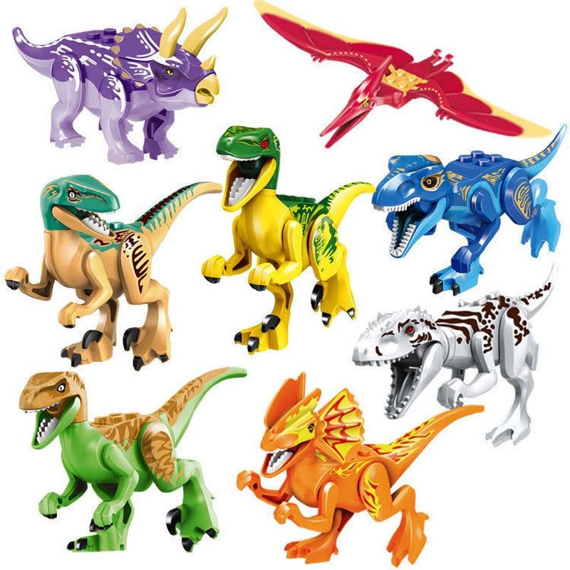 8 unids/set Compatible con Legoinglys Jurásico Mundo Jurásico mundo 2 figuras Rex bloques de construcción dinosaurio Juguetes