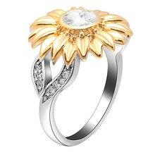 Женское кольцо с камнями UFOORO, серебряное кольцо с золотым кристаллом в виде подсолнечника