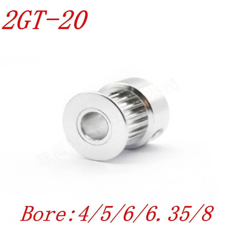 1pc GT2 Timing Pulley 20 teeth Bore 4mm 5mm 6mm 6.35mm 8mm for width 6mm  2GT Synchronous Belt Small backlash 20Teeth