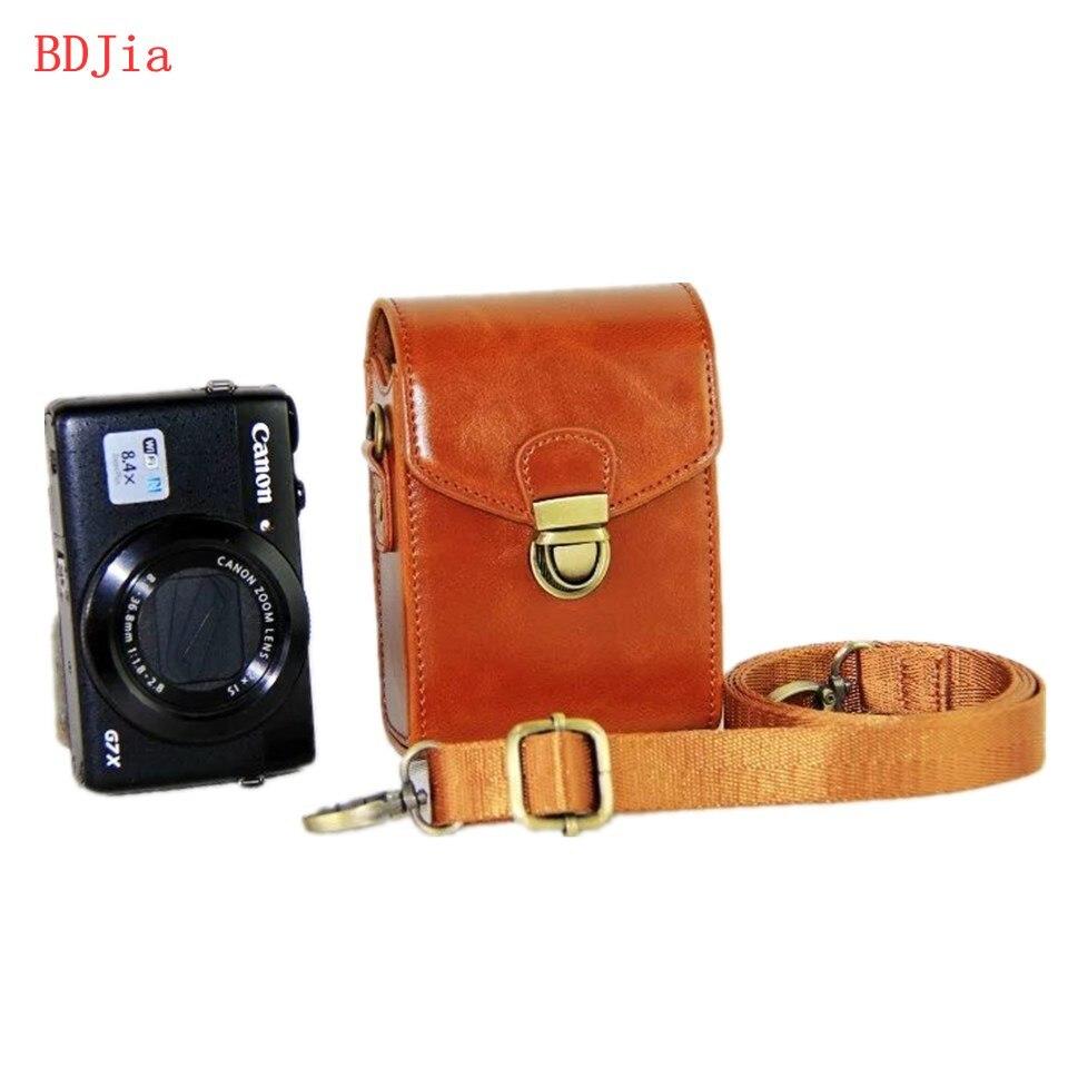 Cuero caja bolsa de la cámara para Sony RX100M7 M6 M5 M5A M4 M3 M2 WX700 WX500 HX99 HX90 con correa