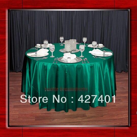 "Venta caliente verde 54 ""redondo en forma de tela de mesa de satén de poliéster/manteles/sobremesa para decoración de fiestas de boda"