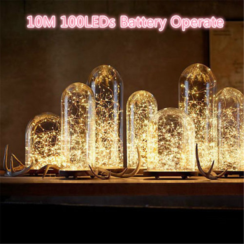 ECLH 10M 33ft 100 led 3AA battery powered led copper wire string lights for christmas festival wedding party decoration zdm 10m usb copper wire waterproof led string light 100 leds for festival christmas party decoration dc5v