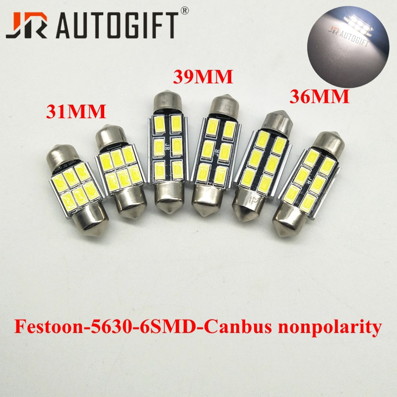 10pcs 12V 24V Festoon led 31/36/39mm led Dome light 5630 5730 6LED CANBUS Error Free Car License plate Luggage Reading light
