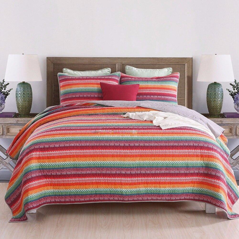 Juego de edredón bohemio de 3 piezas, colcha gruesa con estampado de rayas arcoíris, colchas acolchadas, funda de almohada, funda de almohada tamaño King Queen