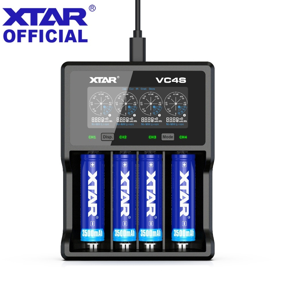 XTAR зарядное устройство VC4S QC3.0 Быстрая зарядка AA AAA батарея 20700 21700 18650 зарядное устройство VC4S VS XTAR VC4 зарядное устройство