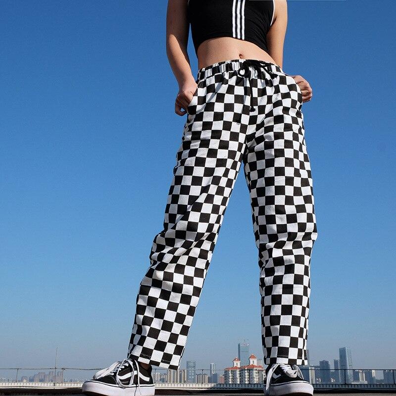 Pantalones a la moda a cuadros de cintura alta para mujer, pantalones de chándal elásticos sueltos, pantalones de pierna ancha