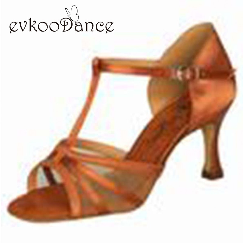 Zapatos De Baile Heel Height 7cm Size US 4-12 Tan Black Brown Comfortable Women Salsa Shoes For Dance Latin NL062