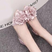 2019 جديد الربيع و الصيف الزهور أحذية مستدقة كل مباراة الفم الضحلة الأحذية مع حذاء شفاف مسطح