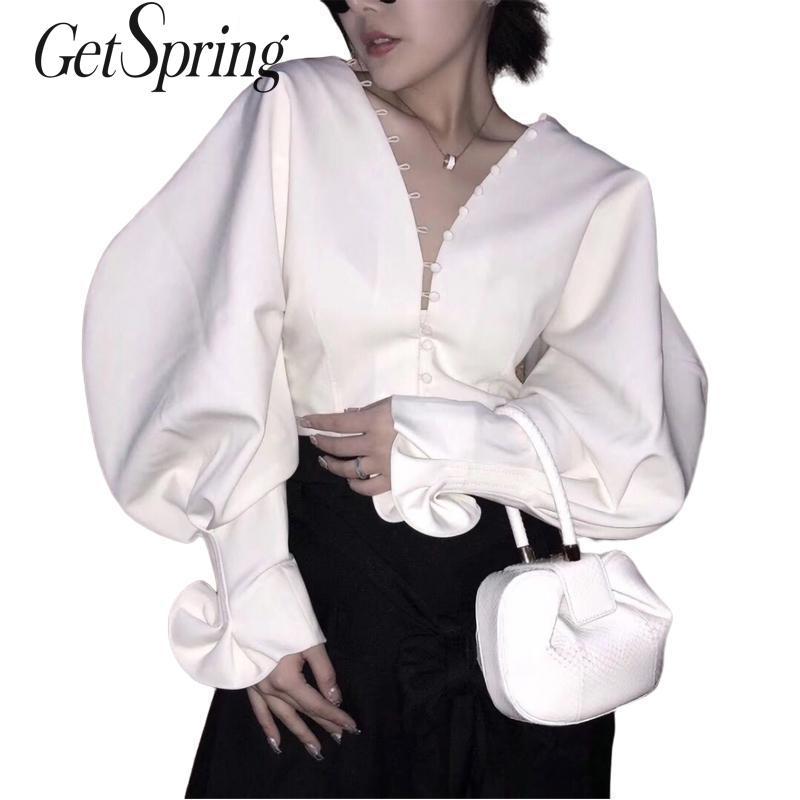 GETSRING Frauen Hemd Bluse Vintage V Neck Frauen Blusen Weiß Rüschen Blusen Batting Frauen Shirts Koreanische Top Frauen 2019 Frühling