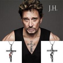 10 stücke Johnny Hallyday Gitarre Kreuz Anhänger Halskette Sammlungen Männer Schmuck 316 Edelstahl Medaillon Charme Christian Kruzifix