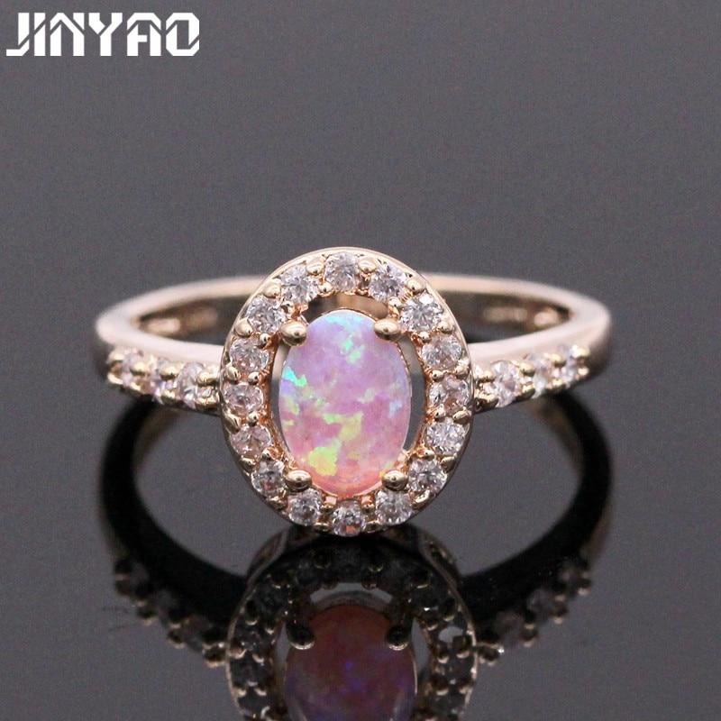 Joyería JINYAO Nobby, encantador anillo de dedo de ópalo de fuego y circón cúbico de Color dorado para mujeres, joyería de compromiso de aniversario, 7 colores