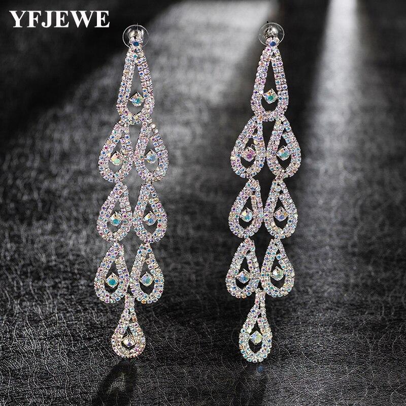 Pendientes colgantes de cristal YFJEWE de moda para mujer, pendientes Multicolor, pendientes redondos de largo de moda E529
