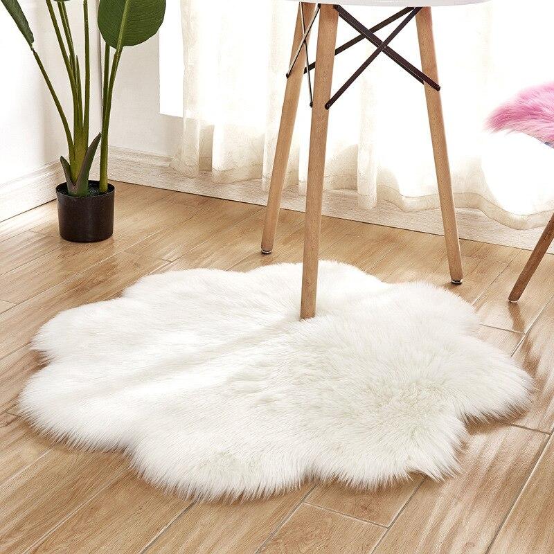 Alfombra grande de piel sintética de 45/90cm con forma de flor de lujo blanca/gris/azul alfombras de felpa redonda para el hogar de los niños de la sala de estar