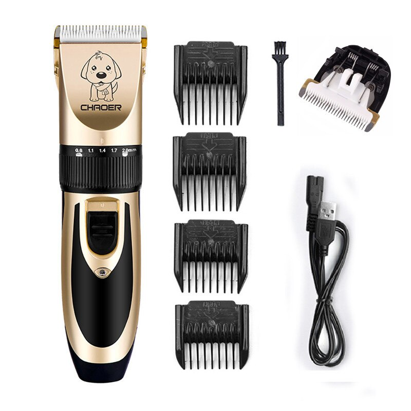 Recortador de pelo eléctrico para perros de bajo ruido recargable, cortador de pelo para mascotas, máquina de corte de pelo para perros