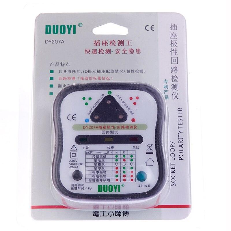 100% nuevo DY207 enchufe probador de seguridad interruptor de fuga prueba bucle detección de resistencia polaridad DY207A