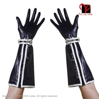 black sexy latex gloves with zipper and belt rubber mitten gauntlet st 031